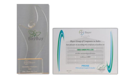 Outstanding Performance Certificate from Bayer Crop Science, 2009